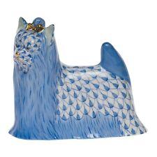HEREND, YORKSHIRE TERRIER PORCELAIN DOG FIGURINE, BLUE FISHNET, FLAWLESS