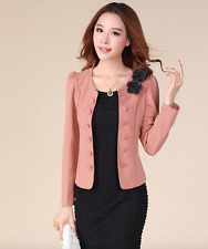 Korean Women's Fashion Floral Suit Blazer Top Pink