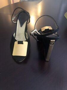 Charles Jourdan Lucy BLACK Flat Sandal Buckle Open-toe Slingback NEW Thong