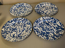 The Golden Rabbit Set of 4 Blue & White Swirl Splatter Dinner Plates Enamelware