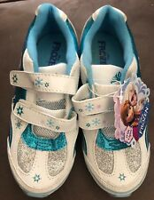Disney Frozen ELSA ANNA Athletic Tennis Shoes with LIGHT UP Girls WHITE/BLUE-12M
