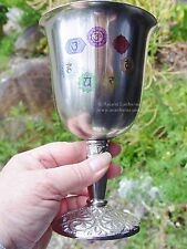 STAINLESS STEEL 7 CHAKRA CHALICE 177 mm Wicca Pagan Witch Goth Goddess