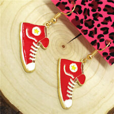 Hot Red Enamel Cute Canvas Shoes Crystal Betsey Johnson Women Stand Earrings
