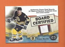 2001-02 GREATS OF THE GAME BOARD CERTIFIED CAM NEELY GAME-USED BOARD #4 BRUINS