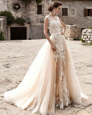 New Champagne Mermaid Lace Wedding Dress with Detachable Train Bridal Gown