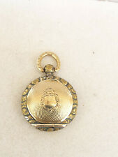 Antique 1800's English Victorian Gold Plated Photo Locket Pendant Necklace