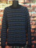 Men's OLD NAVY lighweight blue & teal striped sweater sz XXL ~~SUPER SOFT! ~~