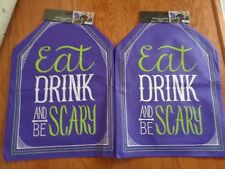 Happy Halloween(2) Eat Drink & Be Scary PURPLE Chair Party Slip Covers.