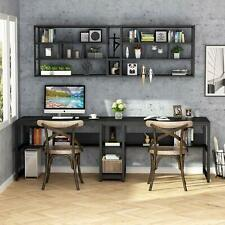 Home Office Double Computer Desk Space-Saving Writing Table with Storage Shelves