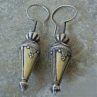Boho 925 Sliver Cone Earrings Ear Hook Drop Dangle Women Wedding Gift Jewelry