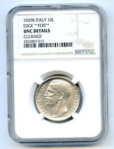 Italy 10 Lire 1929R **FERT**  NGC UNC Details  rare  lotfeb3231