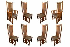 Set of 8 Arts and Crafts Oak Curved High Back Dining Chairs  sc 1 st  eBay & Oak Arts u0026 Crafts/Mission Style Dining Sets for sale | eBay
