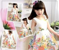 UK Stock Hot Sale Summer Stunning Girls Party Flower Girl Floral Dress Age 3-8