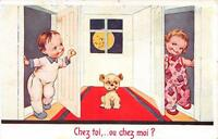 CPA ILLUSTRATEUR ENFANT CHEZ TOI OU CHEZ MOI