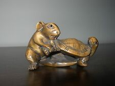 Netsuke Rat tortue souris figurine (2) buis japonais Handcarved signé