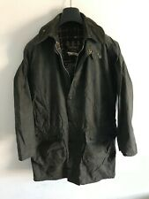 Mens Vintage Barbour Border wax jacket Blue coat 36in size Small / Medium S/M