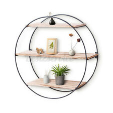 3-Tier 19In Floating Wooden Wall Shelf Wood Shelves Hanging Round Decor Home US