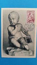 FRANCE CARTE MAXIMUM YVERT 1048 CROIX ROUGE ENFANT PIGALE 12F+3F PARIS 1955 L493