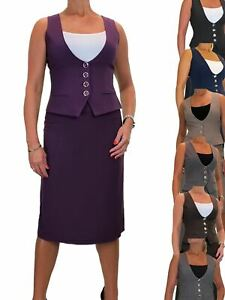 Ladies Fully Lined Work Waistcoat Skirt Suit Washable Office 10-20