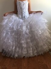 WHITE Size 12  Flower Girl Dress Wedding Bridesmaid Communion Birthday Recital