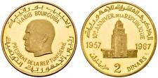TUNISIA , GOLD 2 DINARS REPUBLIC 10TH ANNIVERSARY 1957 - 1967 ( RA ) , RARE