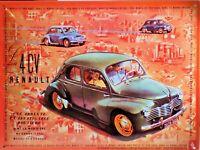 PLAQUE METAL vintage LA 4 CV RENAULT - 40 x 30 cm