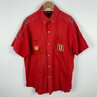 VINTAGE Ferrari Shirt Mens 2XL Red Embroidered Patches Button Up Short Sleeve