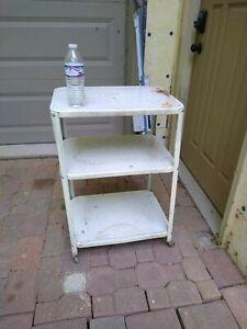 "Vintage WHITE Metal 3 Shelf Kitchen Utility Rolling Cart Wood Wheels 30""x20""x15"""