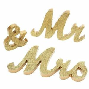 Wooden Wedding Letters Mr & Mrs Decoration Present Props Table Party Gift Deco