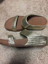 FITFLOP Lulu Gold Leather Flip Flop Sandals Womens Size 8