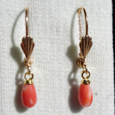GEM QUALITY GORGEOUS 14K GOLD FILLED SARDINIA OX BLOOD 10 MM DROP CORAL EARRINGS