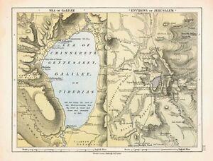 1878 Viktorianisch Landkarte ~ Sea Of Galilee ~ Umgebung Von Jerusalem