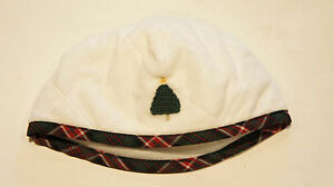 JANIE & JACK Christmas Tree Quilted Velour Hat Color: White/Plaid Sz: 6-12 Mon