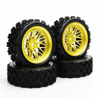 4Pcs Rally Tires and Wheels 12mm Hex For HPI HSP 1/10 RC Off Road Model Car