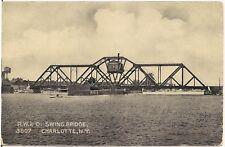 R.W. & O. Swing Bridge in Charlotte NY Postcard 1908