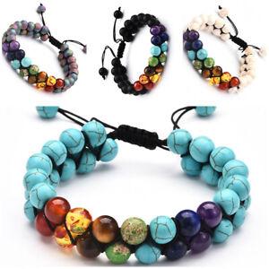 Fashion Gift Bracelets for Women Men Charms Bracelet DoubleLayer Stone Bracelets
