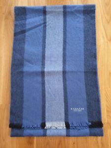 COACH Blue Striped Scarf