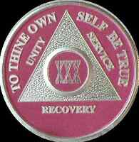 Pink & Silver Plated 30 Year AA Chip Alcoholics Anonymous Medallion Coin