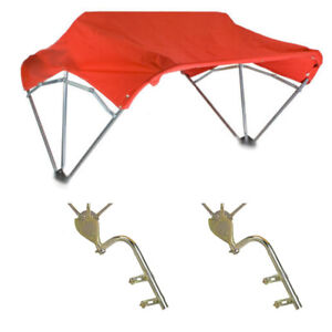 """Universal Tractor Umbrella Buggy Top 3 Bow 48"""" Red Complete w/ Fender Mounts"""