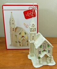 "Lenox Christmas Holiday Village Lit Lighted Porcelain Church Figurine 8"" New"