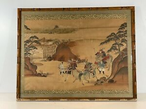Antique Japanese Woodblock Print on Silk of 3 Warriors after Kusumi Morikage