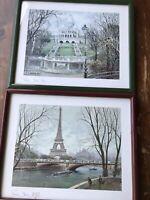 "Vintage Paris Etching Set of 2 Framed Prints Very nice very clean 15 x 18"" glass"
