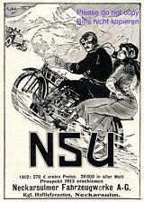 NSU moto insegne 1914 prima prezzi nei rapporti sociali Pubblicità Neckar Sulm +