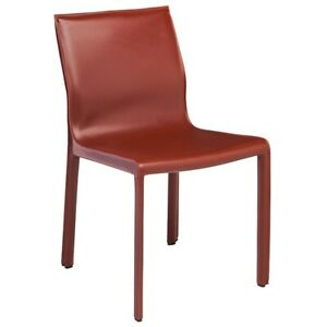 """18.5"""" W Set of 2 Dining Chair Bordeaux Leather Seat Metal Frame Contemporary"""