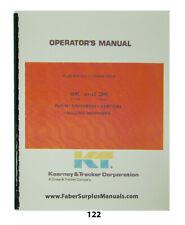 Kearney Amp Trecker Operator Manual For Milling Machine Mod 2k Amp 3k 122
