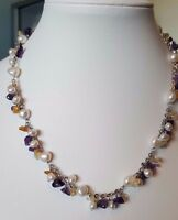 """Freshwater pearl necklace and gemstone and 925 sterling silver 18"""""""