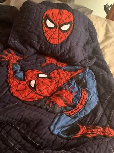 Pottery Barn Kids Twin Spider-Man Quilt, and Standard Sham