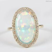 Genuine 2.08 Ct. Opal Gemstone Cocktail Ring Solid 14k Yellow Gold Diamond Pave