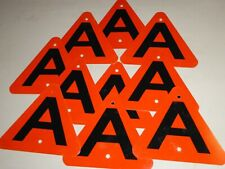 """Metal Sign Letter """" A"""" , 8 Inch Triangle , Red & Blk. 10 Count"""
