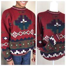 Vintage L.L. Bean AZTEC Southwestern Native American 100% Wool Sweater Unisex M
